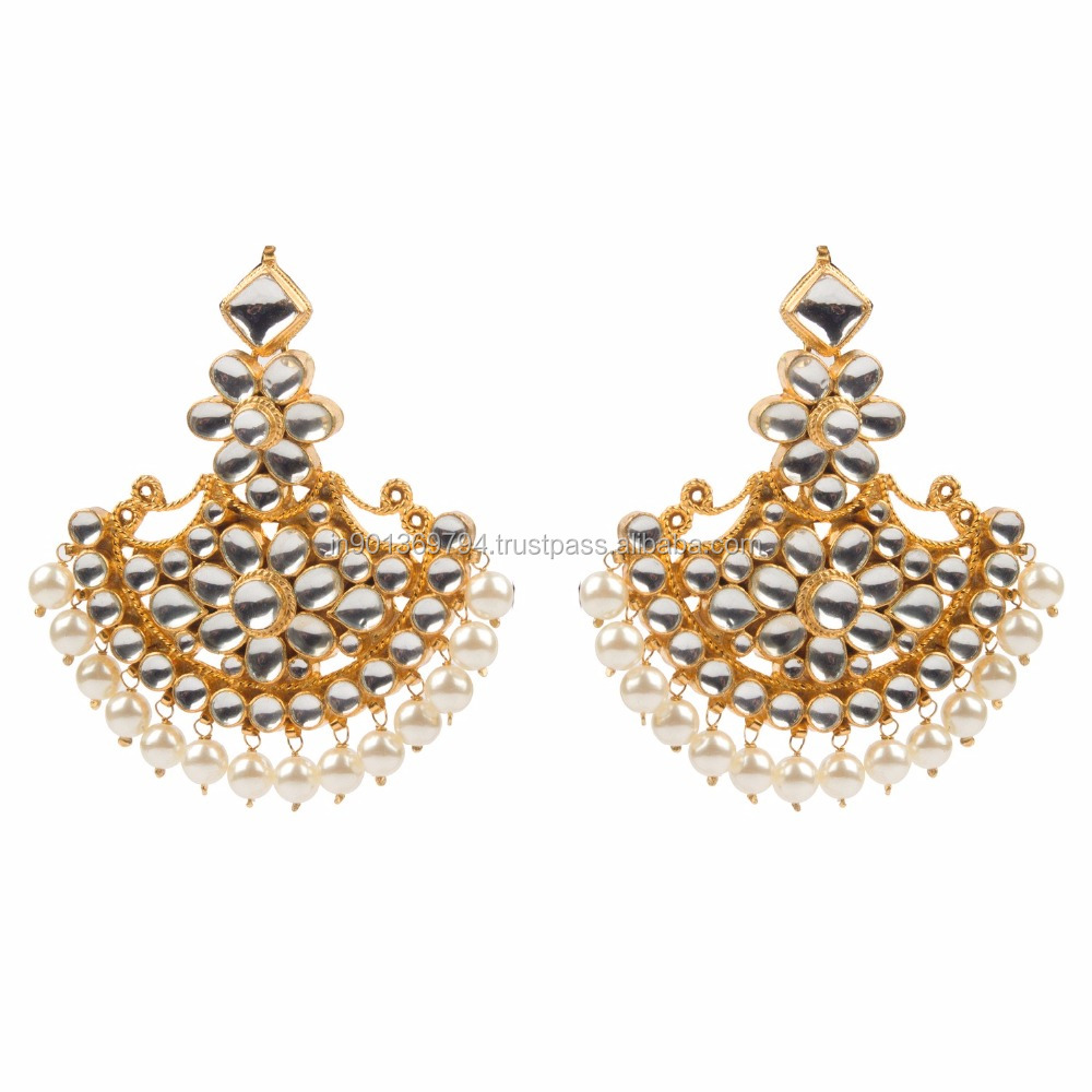 Royal Big Half Round Chandbala Kundan Stone Gold Plated Heavy Bridal Wedding Wear Pearl Beaded Long Traditional Earrings