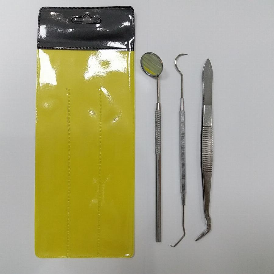 Dental Basic Examination Kit Explorer Tweezer And Mirror Handle