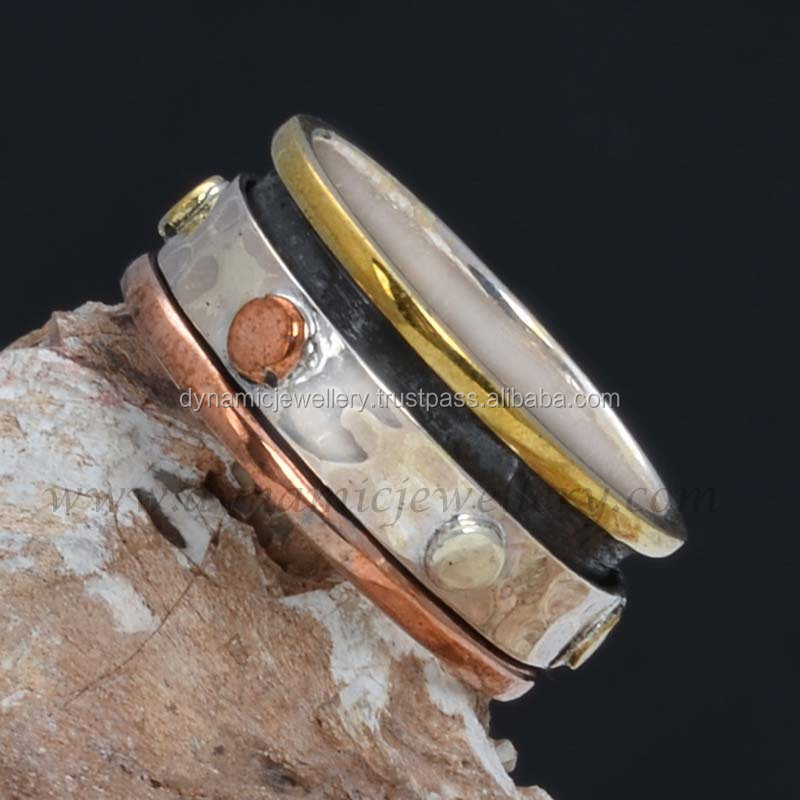 Tri Color silver copper and brass Spin Ring