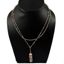 Virtual Beads With Pendant Tourmaline 925 Sterling Silver Necklace, Fashion Silver Jewelry, Exporter And Wholesaler