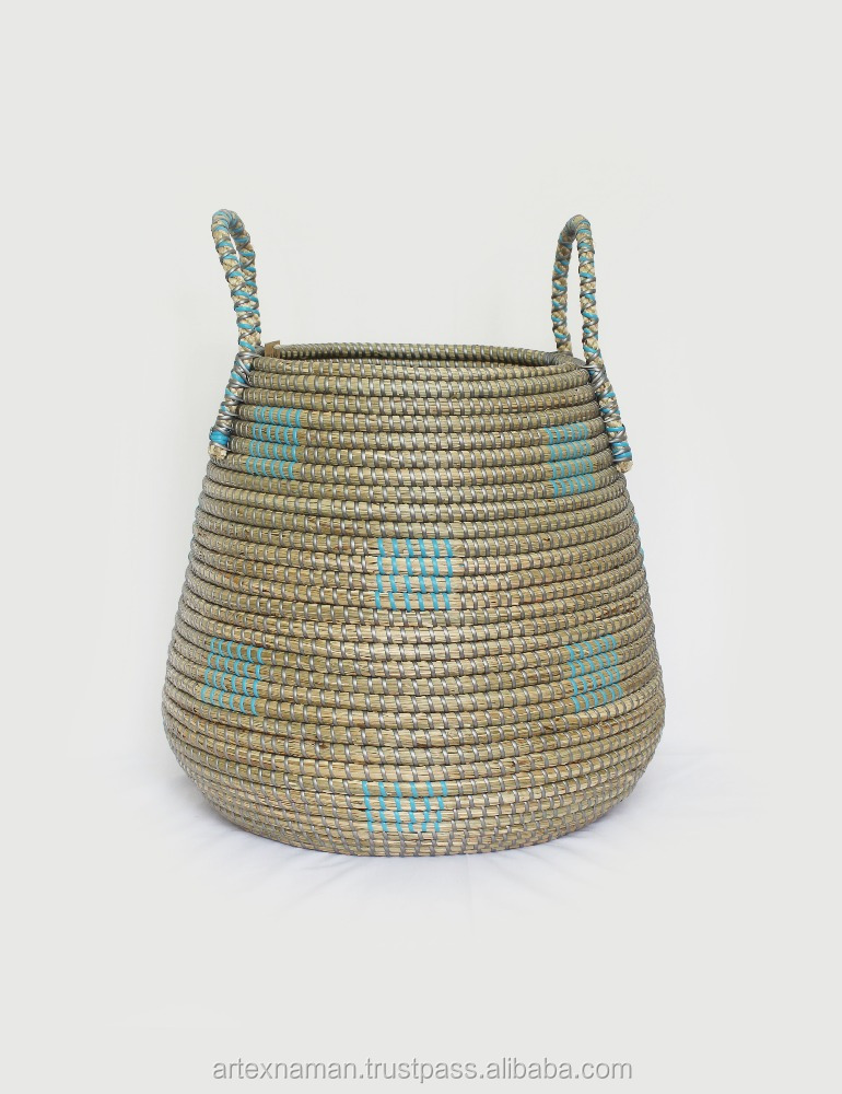 Artex Nam An Large Woven Seagrass Laundry Basket With Handles / Storage Bin in Viet Nam