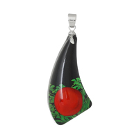 Resin Charm Pendants Horn-shaped Black Made With Real Flower Pattern 4.0cm x 17.0mm, 3 PCs