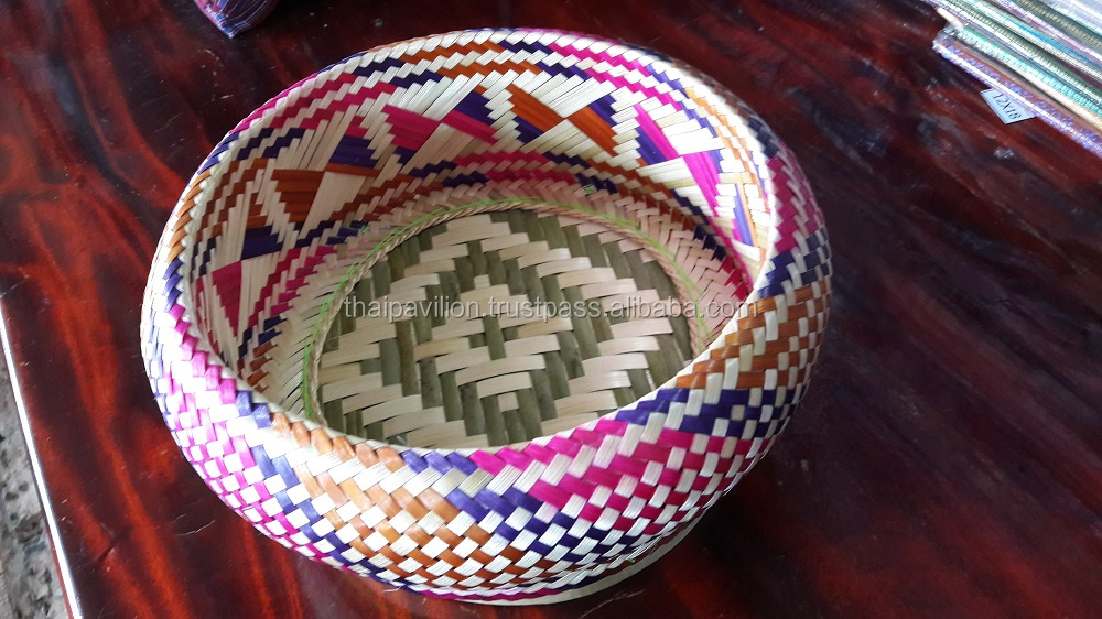Top 20 Natural Colorful Thai Sedge Basket