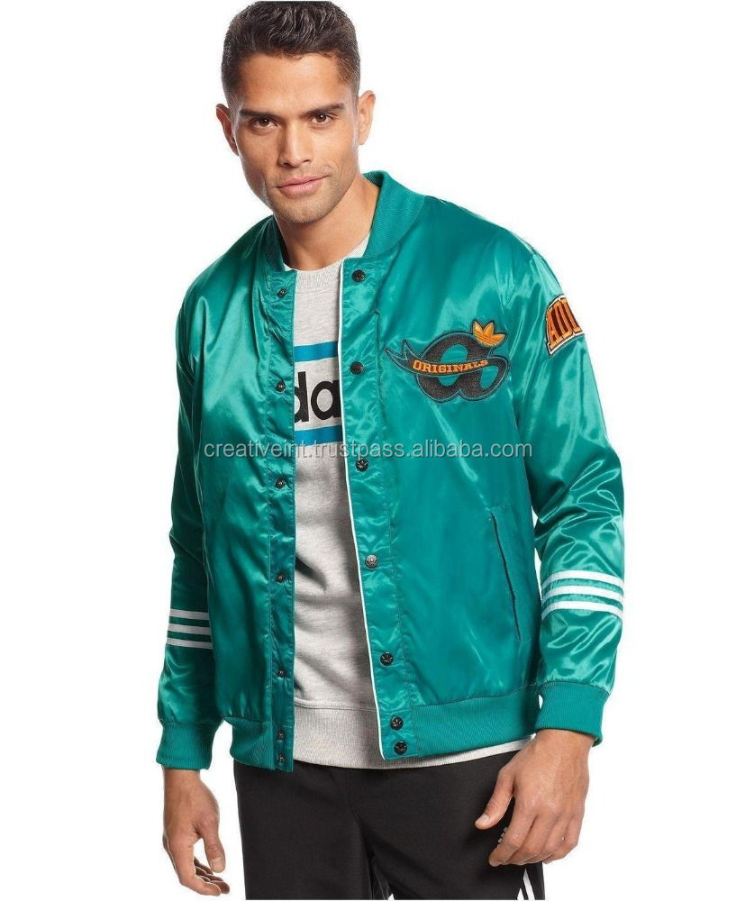 custom made 100% polyester plain satin mens embroidered bomber/custom satin jackets/wholesale satin jacket
