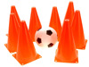 Set Of 8 Soccer Field Safety Traffic Cone Markers, 9-Inch (Sports Ball Included)