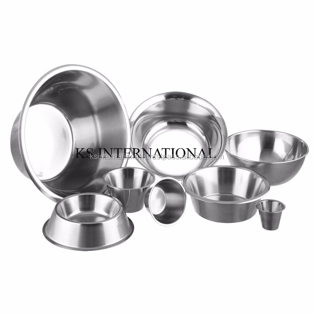 pet dog eating metal feeder