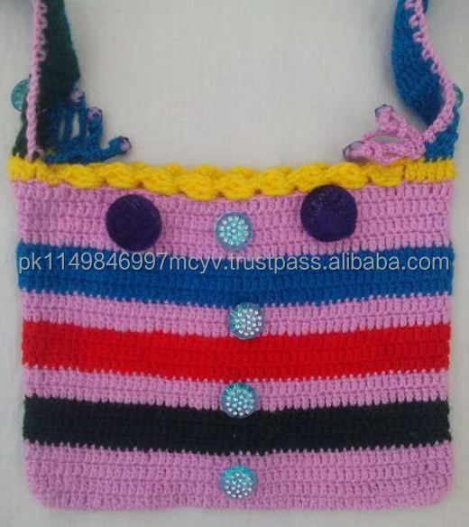 Crochet Shoulder bag/side/tablet/jewelry mini bag-multicolor-trendy look