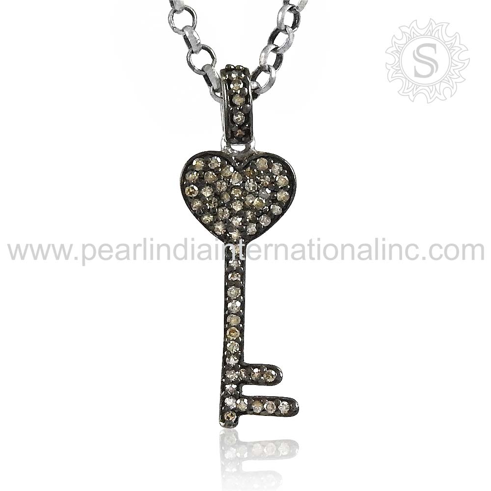 New arrival key style charms pendant polki diamond jewelry 925 sterling silver pendant indian silver jewelry wholesaler