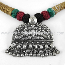 Beautiful Design 925 Sterling Silver Jewelry Oxidised Peacock Necklace Jaipur Wholesaler Plain Silver Jewellery Indian Exporter