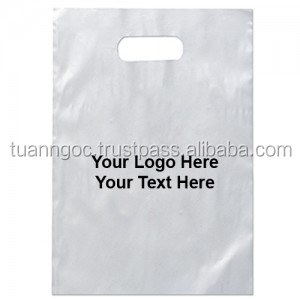Clear plastic shopping bags logo printing die cut bag with handle, die cut handle plastic bag