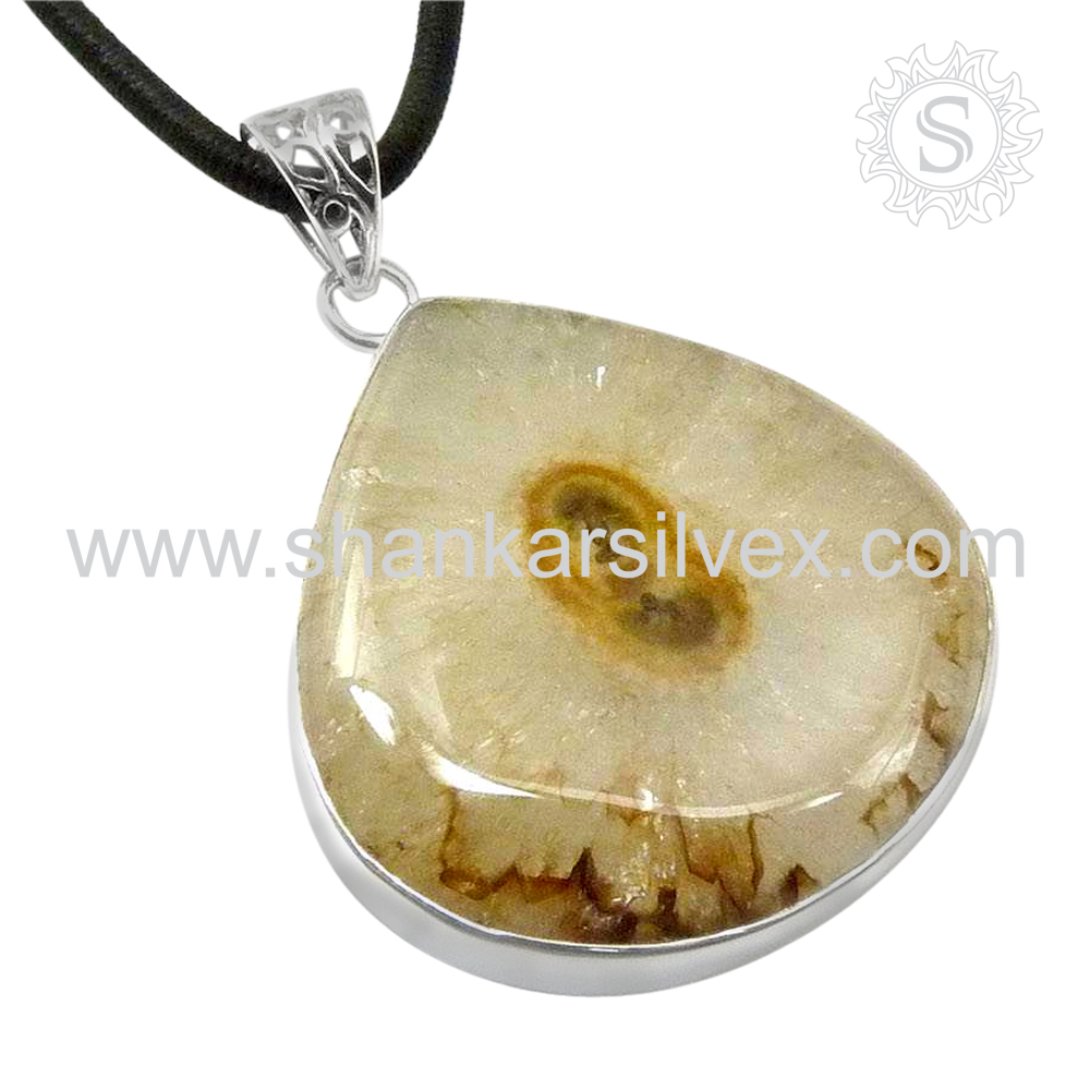 Natural Gemstone Jewelry Citrine Color Fossil Pendant Wholesaler 925 Silver Jewelry Indian Silver Jewelry