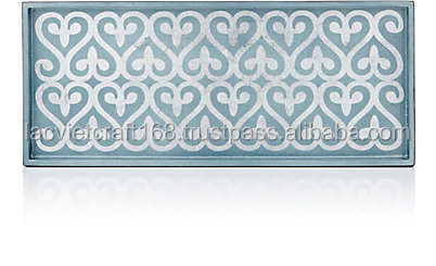High quality best selling Lacquered Cocktail Serving Tray, blue/silver color from Viet Nam