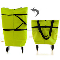 NEW POP design folding shopping bag with wheels, easy to use, easy to carry
