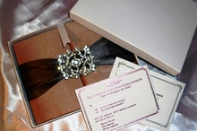 gatefold wedding silk invitation card box with ribbon brooch letterpress foil printed inserts RSVP envelop mailing box