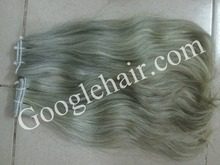 100% VIETNAM HUMAN HAIR, SPECIAL HAIR WHICH CUT FROM OLD WOMAN - WEFT GREY - GOOGLEHAIR