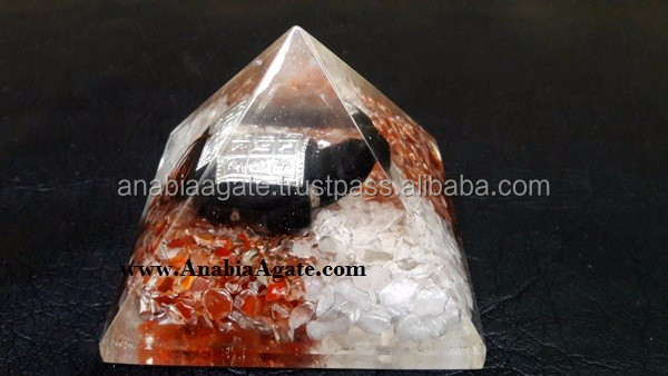 Green Aventurine Orgone Pyramid With Red Jasper Ganesha : Orgone Pyramid : Wholesale Ganesha Pyramid
