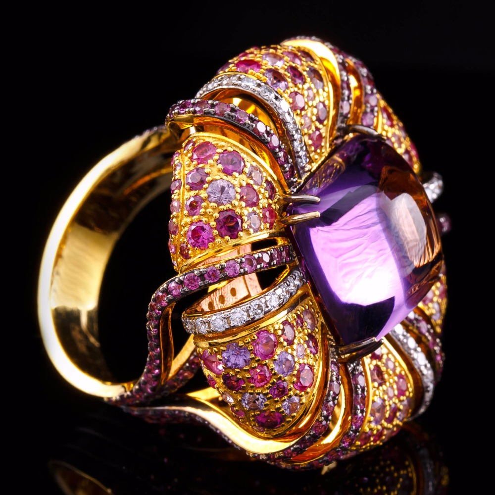 Ring 1-856 of 14k yellow gold with amethist, rose and purple sapphires and diamonds