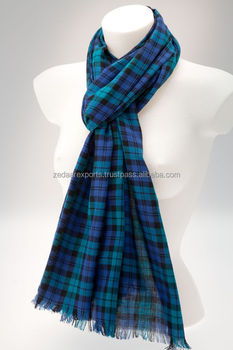 Cotton tartan scarves Scottish pattern scarves