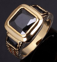 Men Gorgeous Black Sapphire 10KT Gold Filled Fashion Rings