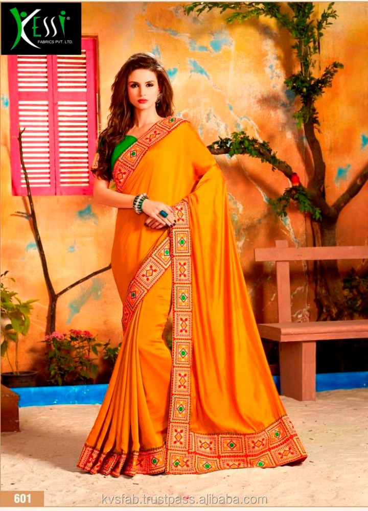 GEORGETTE YELLOW SAREE WITH DESIGN EREMBROIDERY BLOUSE vatika-601