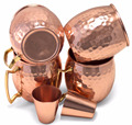 Set of 4 Mug Solid Pure Copper Moscow Mule Mugs With Hammered With the Capacity of 16oz