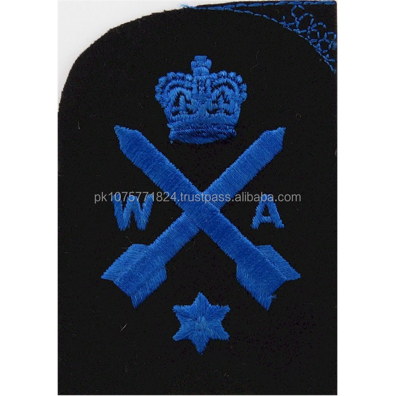 machine embroidery badges Weapons Analyst Crown & Star Trade Blue On Navy Queen's Crown. Embroidered Naval Branch, rank or misc