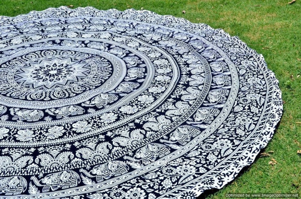 "Indian small Round tapestry Elephant mandala Roundie Beach Throw Indian Tapestry Hippie Yoga Mat Decor tapestry round 48""inch"