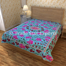 Uzbekistan Suzani Indian Cotton Fabric Embroidery Design Bed Cover Throw Beddign Embroidered Bedspread