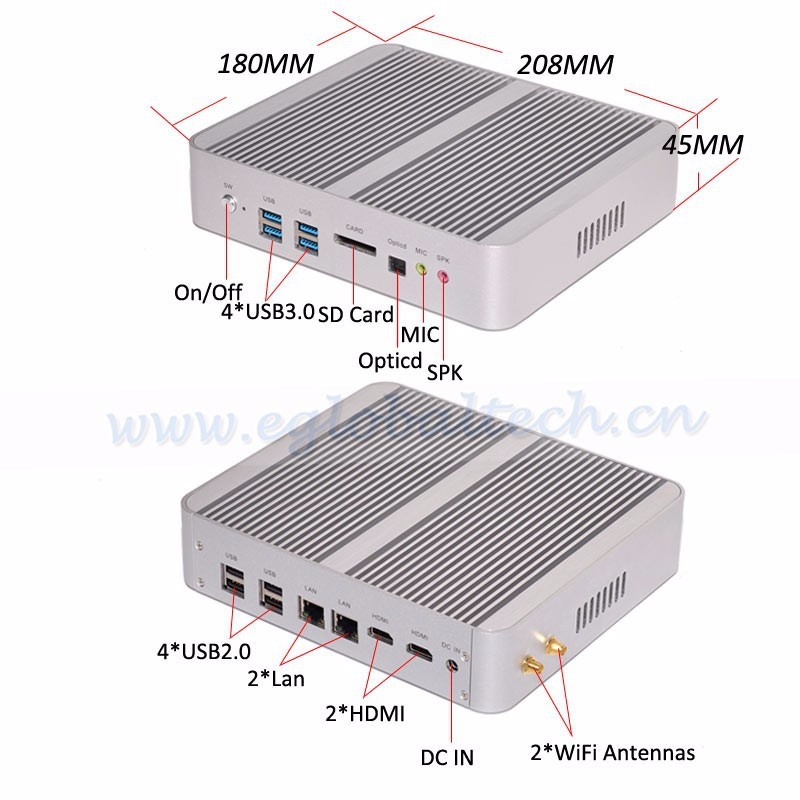 8GB RAM 512GB SSD Fanless WIFI Mini PC Intel Core i5 5200u 2.2GHz WAKE ON LAN Dual NIC Dual HD Ports 6 USB Card Reader CE