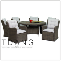 Resin Wicker Outdoor Furntiure - Key West Patio Rattan Dining Set With 6 Chairs