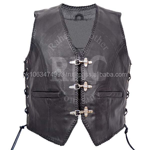 MENS LEATHER WAISTCOAT / BIKER VEST Braided FISH HOOK BUCKLE - Sides Laces