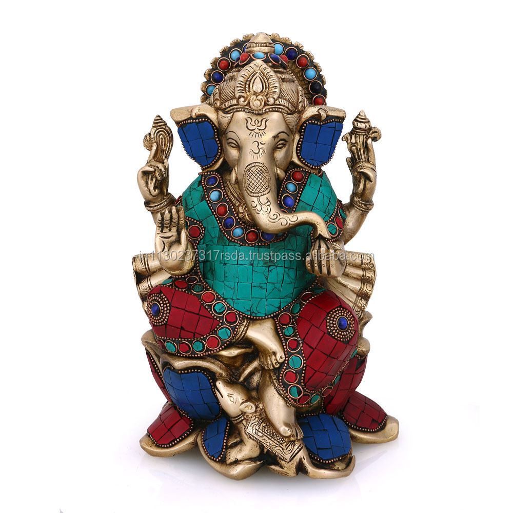 Brass Turquoise Statue Lotus Ganesha Idol Indian God Elephant Success Ganesh Home Decor
