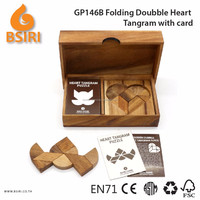 Heart Tangram Puzzles for Adults Train Wooden Puzzle with Card
