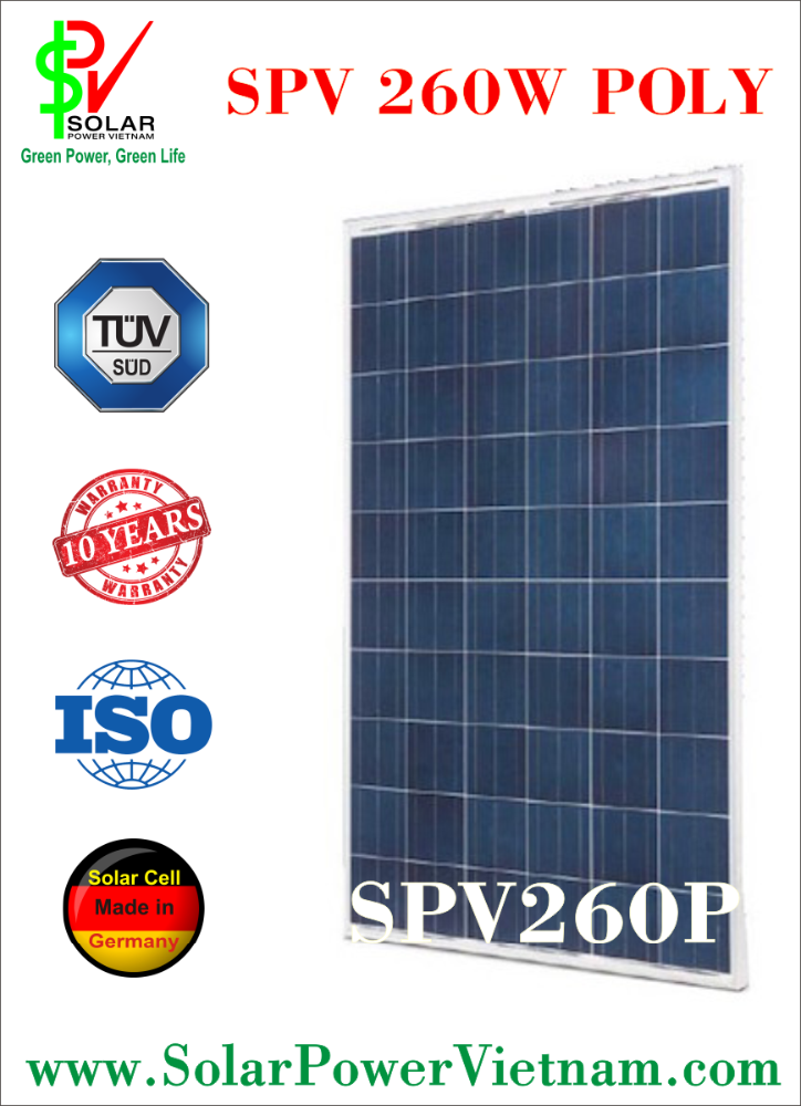 SPV 260w polycrystalline Solar Panel with AR-Coated glass for grid system TUV Certificate