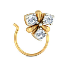 Three Stone Real Diamond Nose Stud in 14k Yellow Gold
