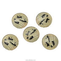"Resin Embellishments Findings Round Light Brown Peter Pan Cartoon images Pattern 25mm(1"") Dia, 20 PCs"