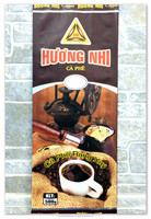 Plastic Laminated Coffee Packaging Bags 500g Heat Sealed Dark Brown Base Color Photo Red Words Gravure Printing