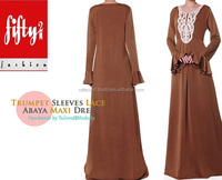 Brown Trumpet Sleeves Lace Jersey Modern Abaya