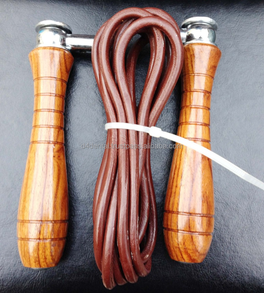 Jump Rope / Skipping Rope Cross Fit - Red Wooden Handle - Adjustable Leather Rope - Weight Inserted