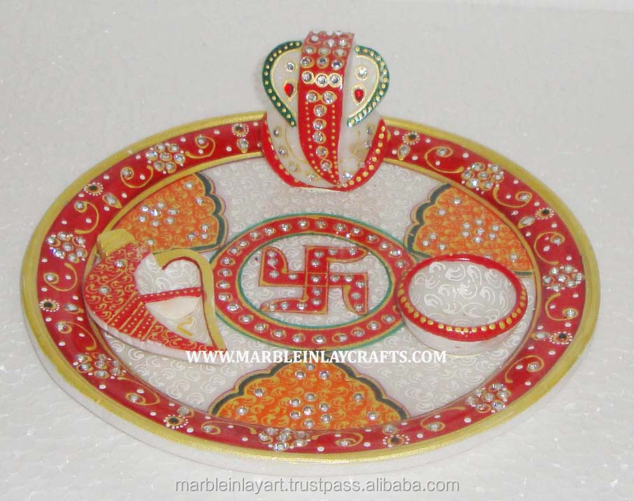 Gold Painting Marble Decorative Pooja Thali