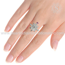 925 Sterling Silver Turtle Jewelry Wholesale Ruby & Cz Gemstone Ring Wholesale Silver Jewellery