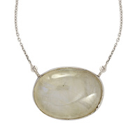 925 Sterling silver 21X28 mm Rainbow moonstone gemstone silver necklace, fine silver necklace