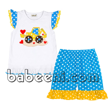 Truck with red hearts applique short sets for baby girls