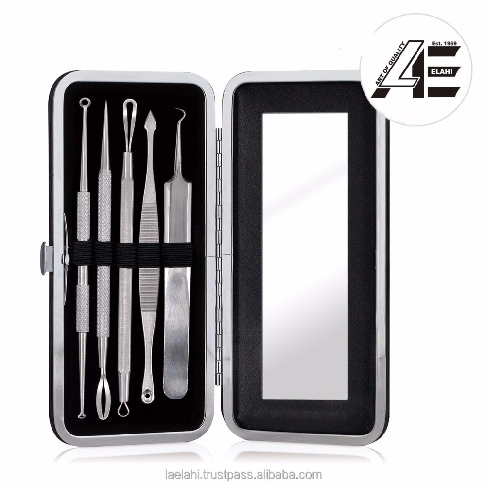 Blackhead Remover Acne Removal Tool 5 PCS & Mirror Case, Curved Tweezers Set