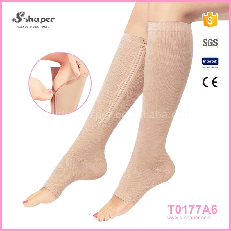 20-30Mmhg Knee Length With Zipper And Open Toe,Compression Stockings For Treatment Of Varicose Veins