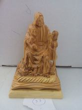 olive wood Jesus carving/wooden Jesus statue with children