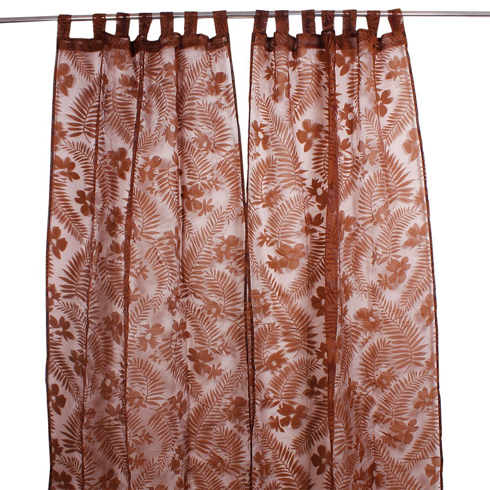 Window Curtain Drapery Hand Woven in Polyester with Floral Prints for Living Room Bedroom Home Decor Accents