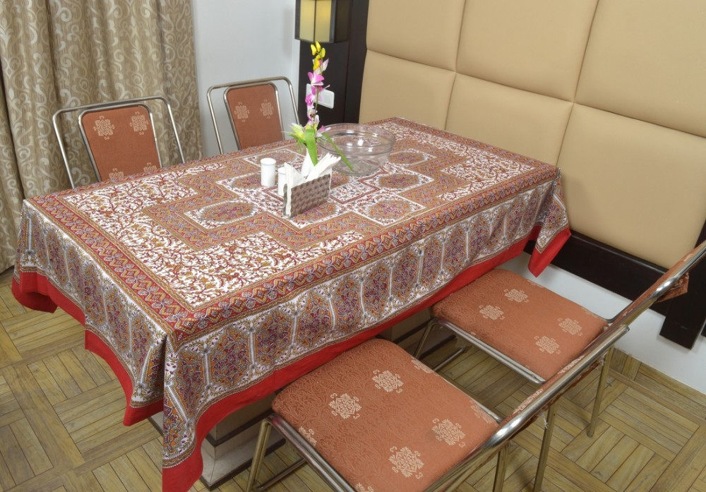 Indian Cotton Table Cloth Red Hand Block Printed Dinning Table Cloth Vintage Wall Hanging Throw Bed Sheet Cover TC32