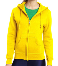 Women's plain 100% cotton fleece hoodies custom women hoodie yellow hoodies 2017