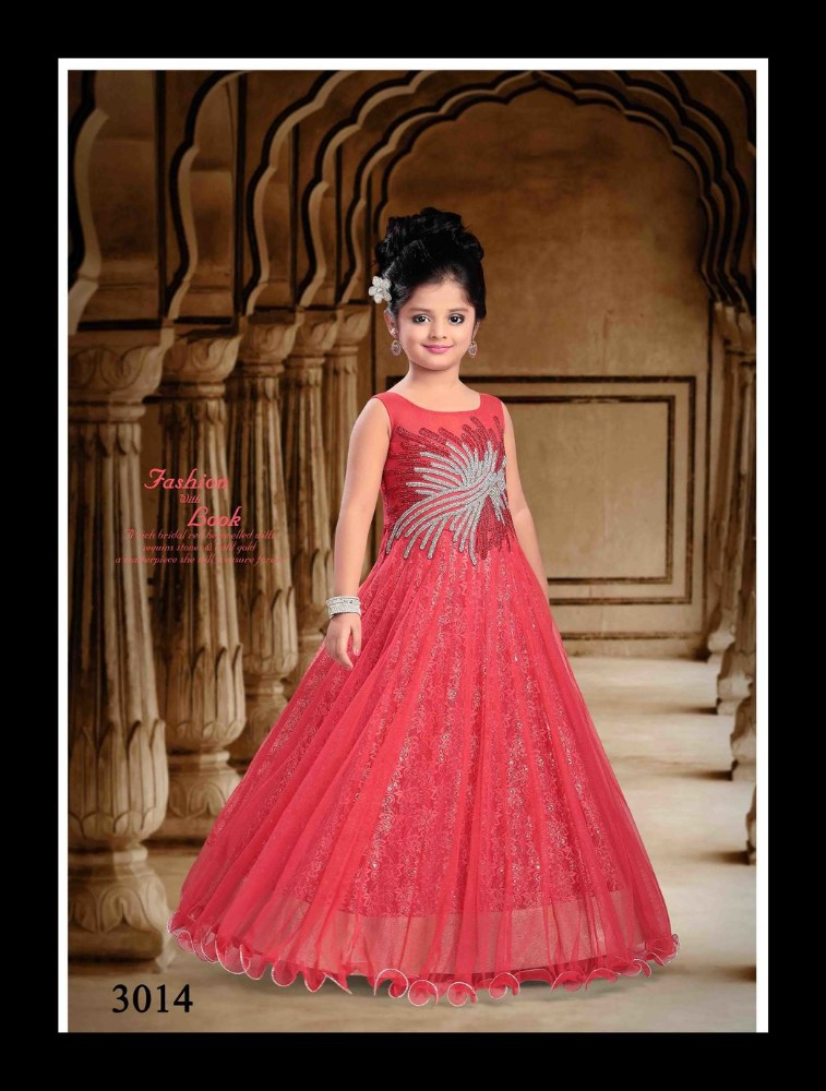 Evening gown/frock designs for kids in orange colour